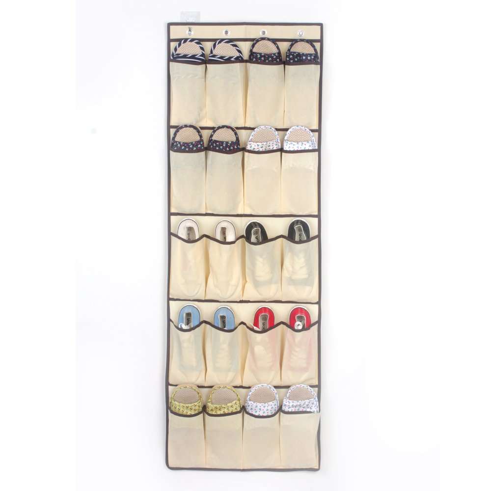 Artwell Over the Door Shoe Organizer 20 Pockets Hanging Shoe Rack with 4 Steel Hooks, Storage Ideas for Bedroom Kitchen Bathroom School Supplies (Cream White)