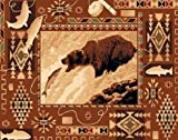 3' X 8 Country Theme Lodge Runner Rug Southwestern Bear Catching Fish Cabin Rug