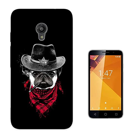 003838 - Sheriff Dog Cigar Illustration Design Vodafone Smart Turbo 7 Fashion Trend CASE Gel Rubber