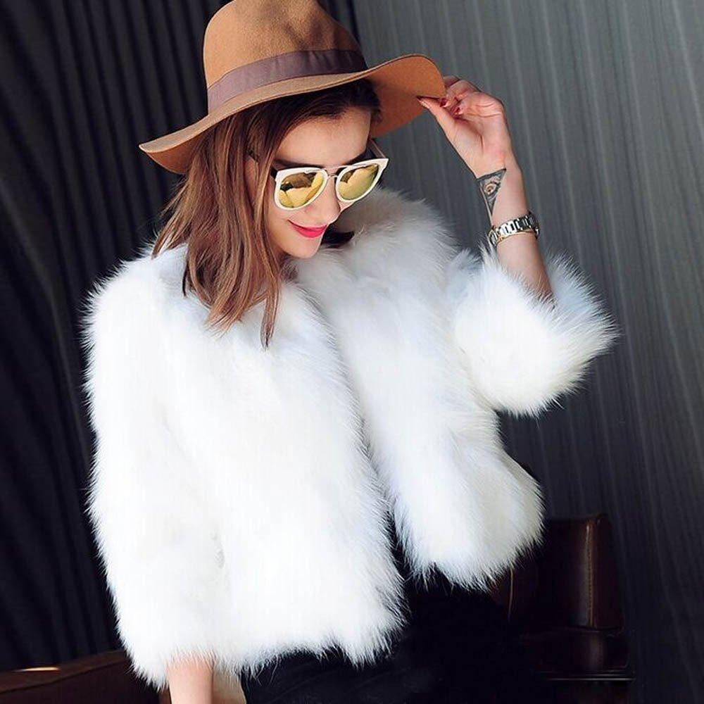 Cuekondy Women's Faux Fur Coat Open Front Cardigan Vintage Solid Color Parka Shaggy Jacket Warm Coat Tops