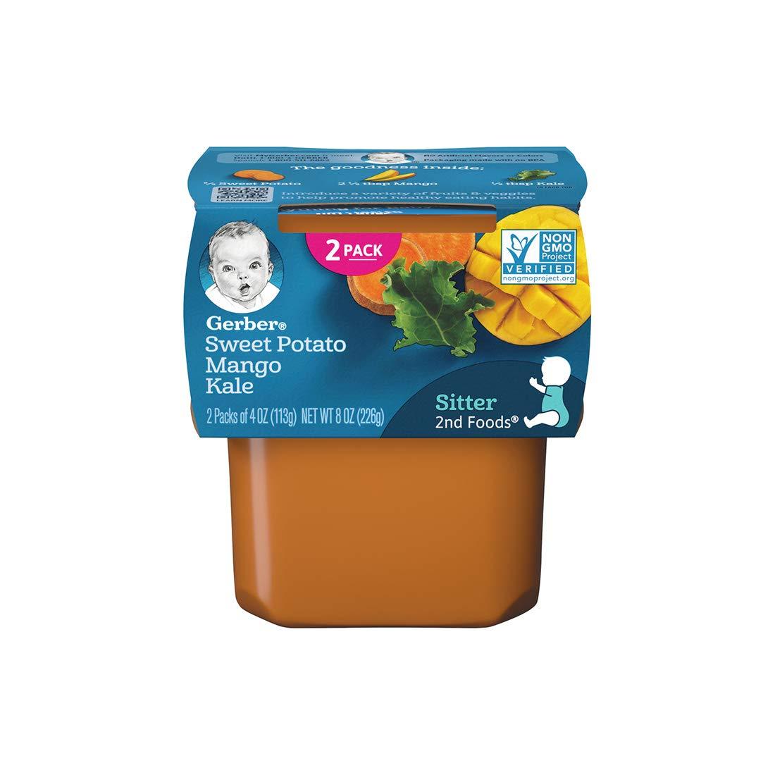 Gerber Purees 2nd Foods Sweet Potato Mango Kale Baby Food, 4 oz, 2 ct