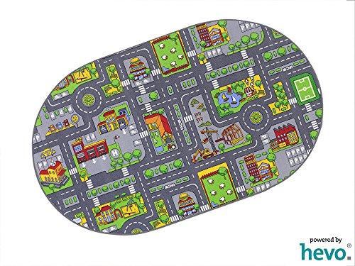 Stadt Mix HEVO ® Strassen Spielteppich | Kinderteppich 200x280 cm Oval