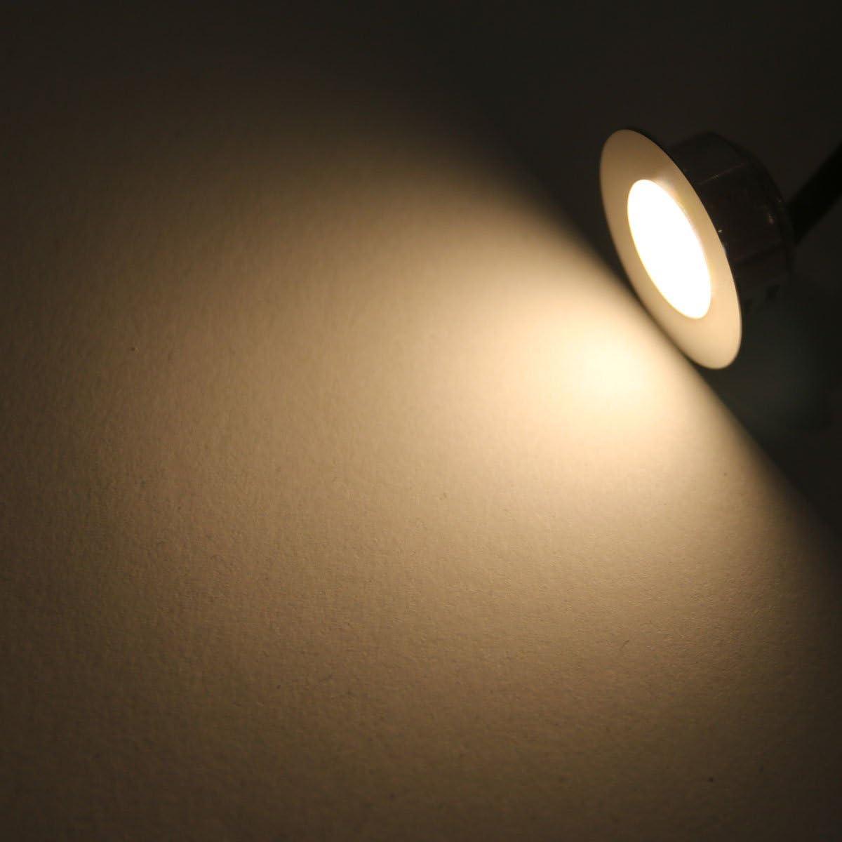 VBLED® LED Mini Bad-Einbauleuchte 9er KIT, rostfreier Edelstahl, IP67 wassergeschütz (starkregensicher), 0,3W, 15 lm, WW (3000K) (9er Set WW mit Trafo 12V, 12W IP67)… 3er Warmweiß