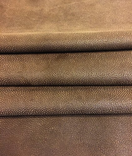 Genuine Brown Leather Hide - Spanish Full Skins - Suede - 7 sq ft - 2 oz. avg Thickness - Textured Finish – Soft Lambskin Fabric – Thin Upholstery Home ()