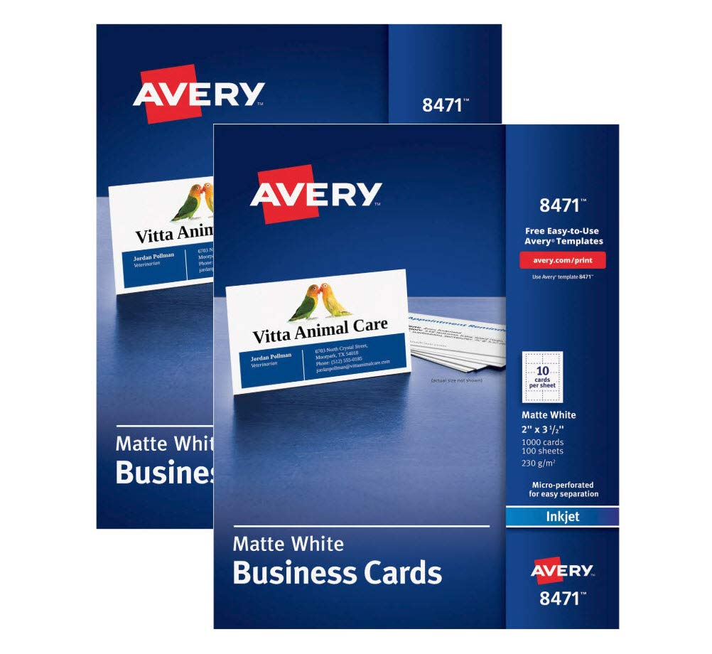 Business Cards 8471 two pack, Matte White, Inkjet Printers, Heavyweight, 234 gsm, professional-looking, 2'' x 3-1/2'', 2000 Count