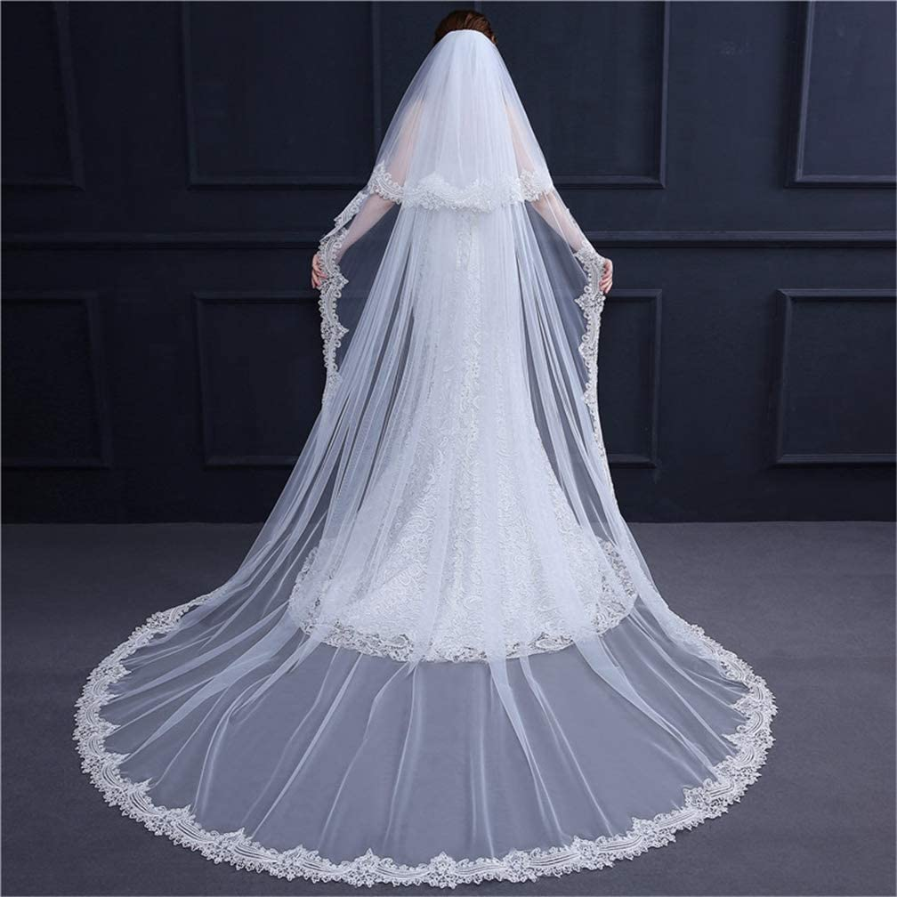 Stunning 2T White Ivory Cathedral Lace Appliques Wedding Bridal Veils With Comb