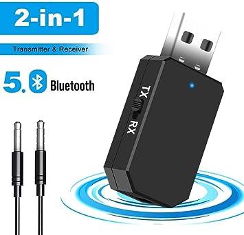 Adaptador Bluetooth 5.0, Transceptor de Audio Inalámbrico Bluetooth USB Transmisor Receptor 2 en 1 con Cable Aux Digital de 3.5 mm para TV/Altavoces/PC/Auriculares ,con modo de conmutación TX / RX: Amazon.es: Electrónica