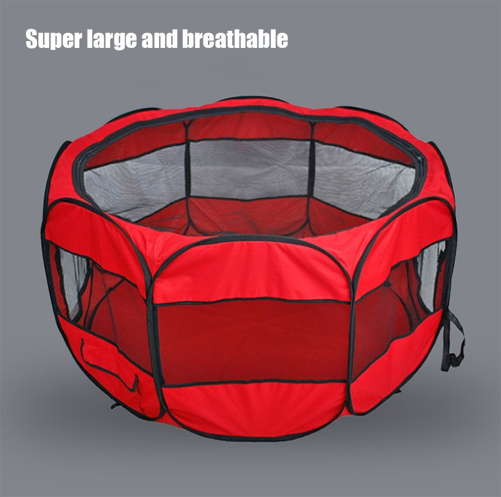 Red TOOLS Nylon Mesh Portable Folding Eight-Sided Fence Dog Tent Waterproof Mosquito Breathable Cat Dog Cage Fence Black bluee Pink,Red