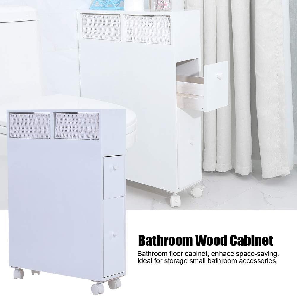 50 x 16 x 72,5 cm armadietto da Bagno in Legno con Ruote Organizer con 2 cassetti Bianco Porta Rotolo di Carta igienica GOTOTOP Gotopop