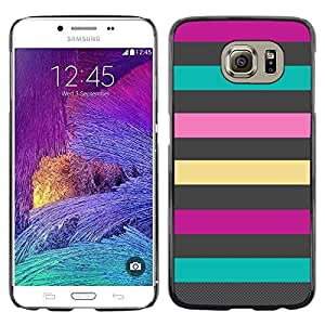 Paccase / SLIM PC / Aliminium Casa Carcasa Funda Case Cover - Lines Teal Pink Purple Summer Pattern - Samsung Galaxy S6 SM-G920