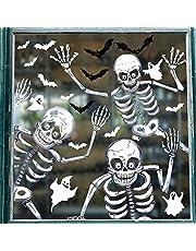 Svanco Halloween raamstickers klampt Halloween feestdecoratie herbruikbare skelet spookvleermuis spin schedel raamstickers verwijderbare kamer decoraties partij rekwisieten deurstickers (10 vel)
