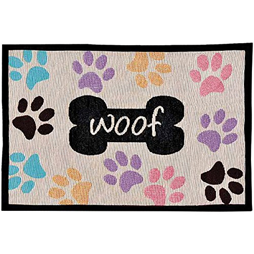 - Loving Pets Bella Fashion Mat for Dogs, Woof with Multi Paws