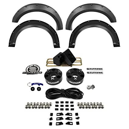 Easy Install Ford F-150 Lift Kit PRO Supreme Suspensions Black 3 Rear Suspension Lift High-Strength Carbon Steel Blocks F150 Lift Kit Full Suspension Lift 3 Front Suspension Lift CNC Machined T6 Aircraft Billet F150 Leveling Kit Strut Spacers