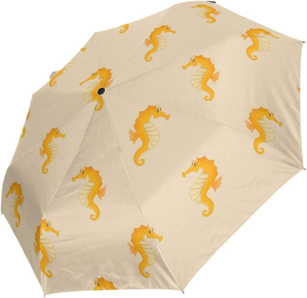 Golden Coast Sea Horse fashion print cute Windproof automatic tri-fold umbrella sun UV protection Sun umbrella