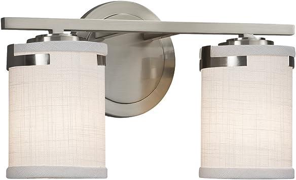 LED Brushed Nickel Montana 2-Light Bath Bar Justice Design Group Lighting FAB-8672-15-WHTE-NCKL-LED2-1400 Textile White Square with Flat Rim Shade