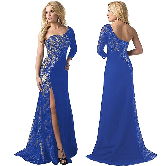 Sunward Women Sexy One Shoulder Side Slit Lace Maxi Prom Evening Dress at Amazon Womens Clothing store: