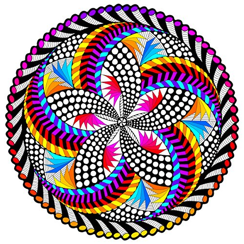 Stuff2Color 'Spin Me' Fuzzy Velvet Mandala - 20x20 Inches - Coloring Poster