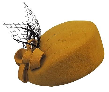 Viva-la-Rosa Ladies VTG 1940s Retro WW2 Wartime Pill Box Hat with Feather 0eb000e34474