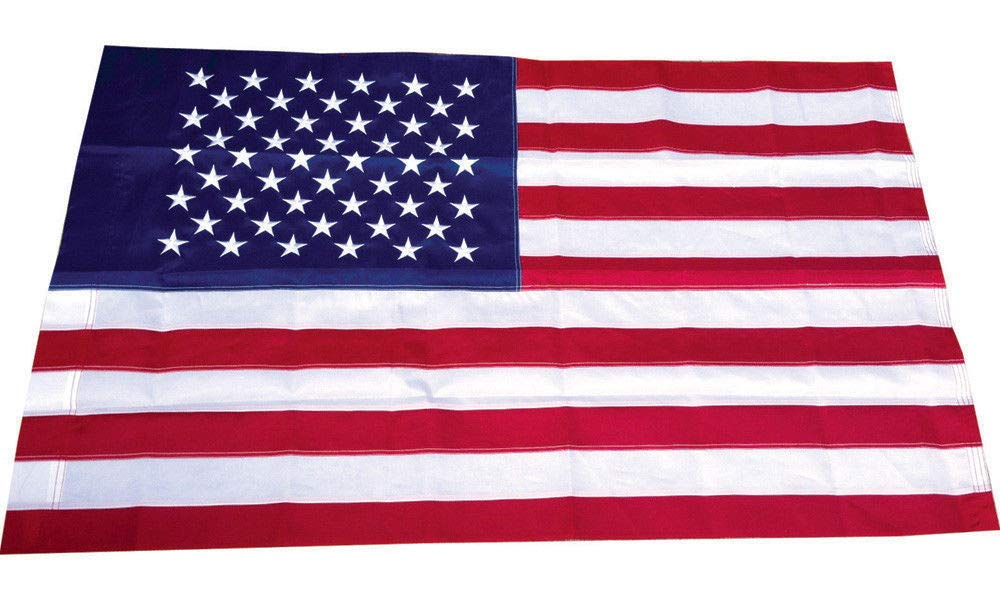 3x5 Embroidered USA American Pole Sleeve Nylon Flag 3x5 (Made in USA) Banners - Vivid Color and UV Fade Resistant - Prime Outside Garden Home Decor by Moon