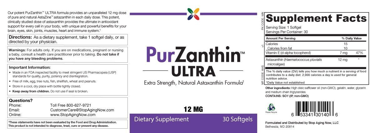Stop Aging Now PurZanthin ULTRA Natural Astaxanthin 12 MG Softgels (1 Pack)