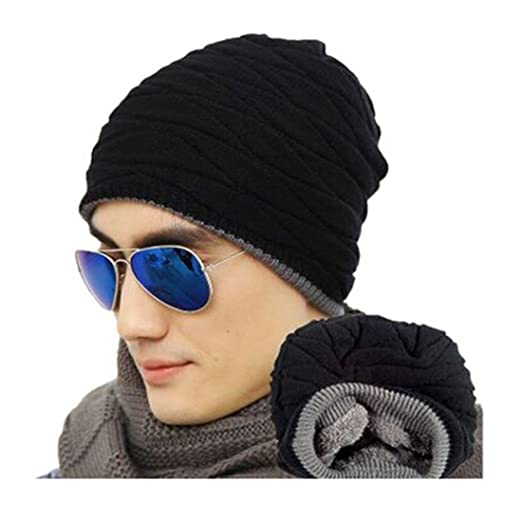 613e160638f Little Chair Men`s Boy Knitted Thick Cashmere Winter Warm Beanie Hat  Crochet Skull Ski
