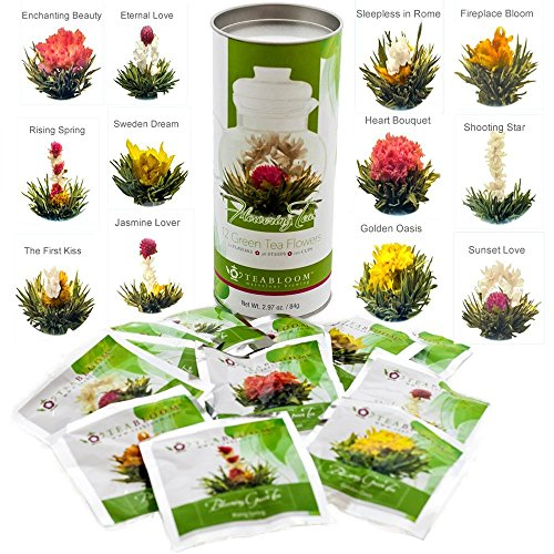 Teabloom Natural Blooming Tea Flowers - Biggest Variety of Flowering Tea in Beautiful Gift Canister - Fresh New Tea Flowers