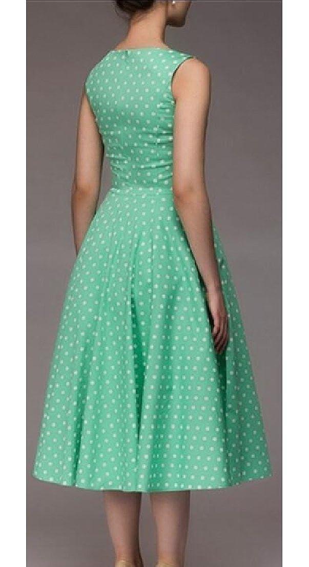 Generic Womens 1950s Sleeveless Dress Polka Dots Retro Cocktail Swing Dress