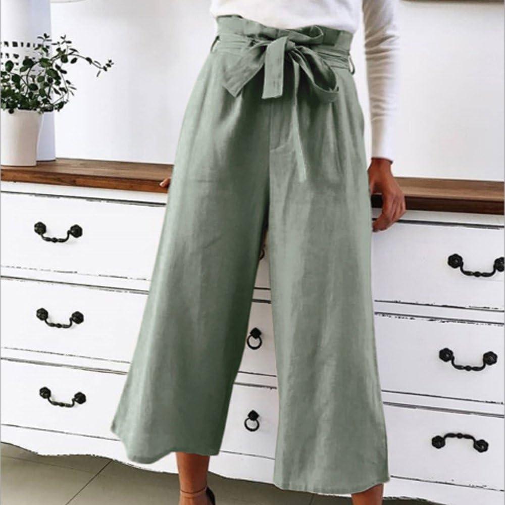 DOGZI Pantalones Mujer Arco Color sólido Pantalones recortados ...