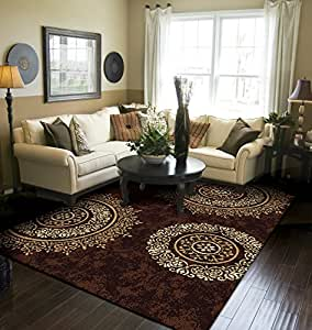 Amazon Com Modern Area Rug Brown Large Rugs For Living