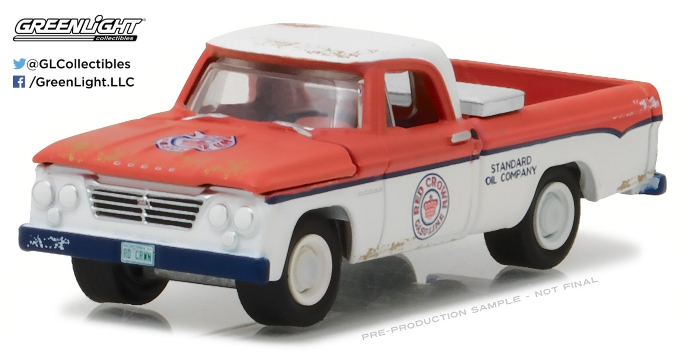 NEW 1:64 GREENLIGHT RUNNING ON EMPTY SERIES 2 COLLECTION - RED WHITE 1963 DODGE D-100 LONG BED WITH TOOL BOX Diecast Model Car By Greenlight