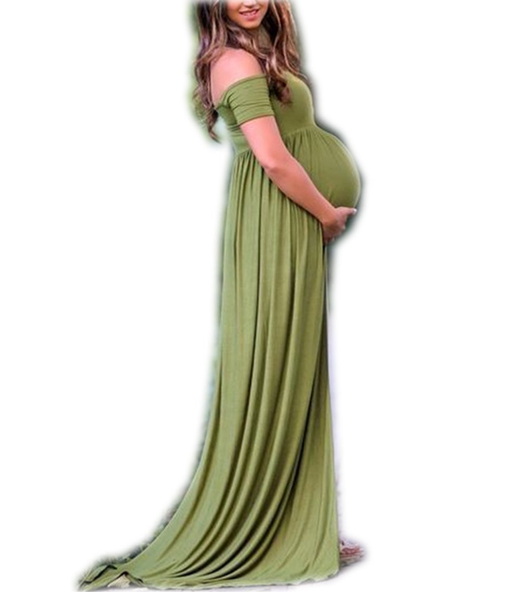 Babe Maps Cowl Neck and Over The Shoulder Maternity Long Sleeve Nursing Off Shoulder Dress For Photography XL