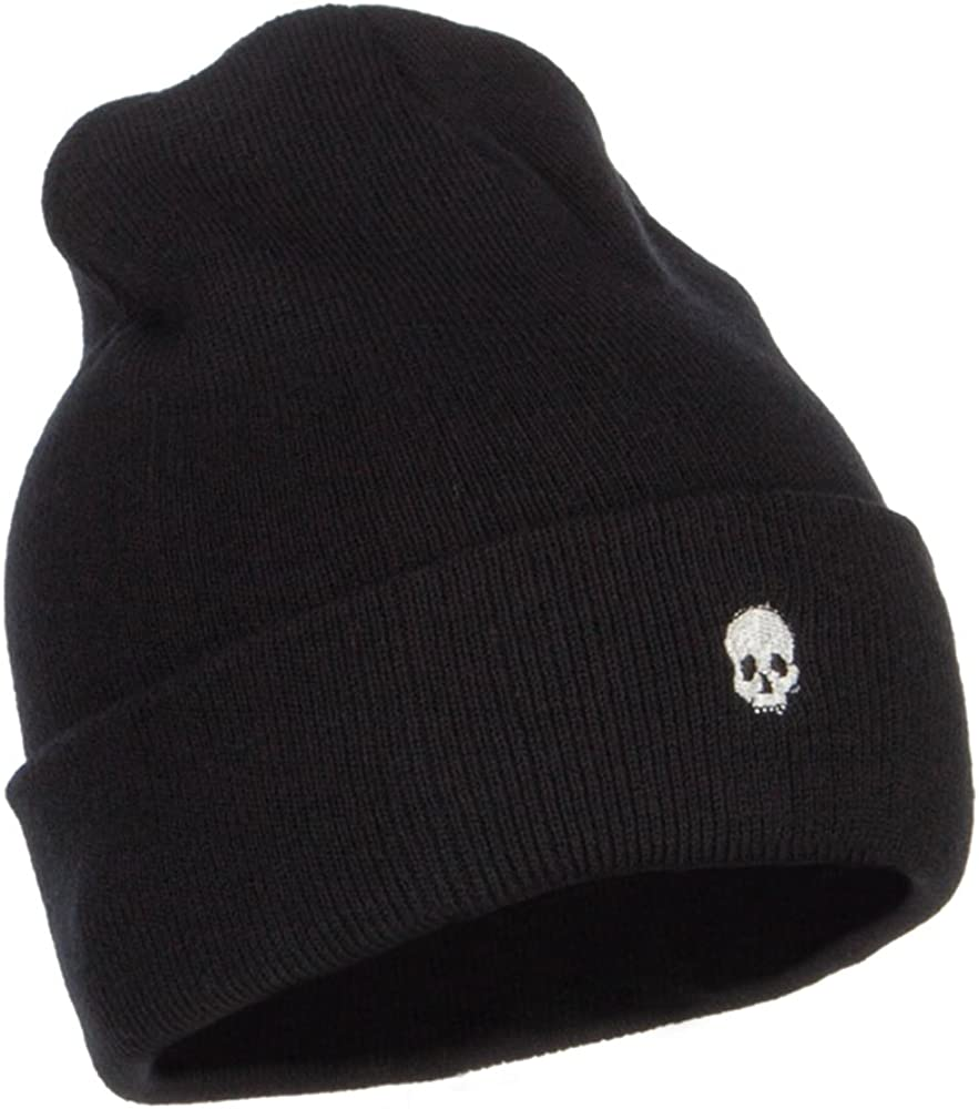 e4Hats.com Mini Skull Embroidered Long Beanie