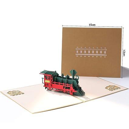 Papel spiritz tren 3d Pop Up Tarjeta de felicitación, diseño ...