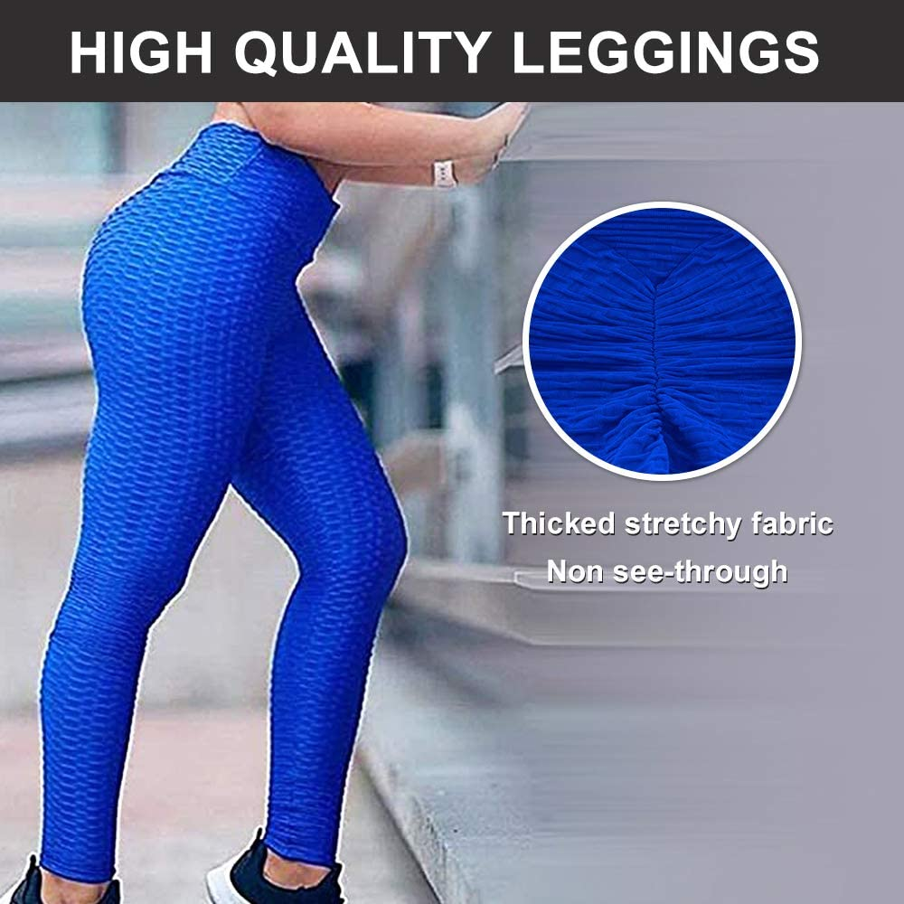 Booty Yoga Pants Women,High Waisted Ruched Butt Lift Textured Scrunch Tummy Control Slimming Leggings Workout Tights