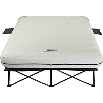 Amazon.com : Coleman Queen Airbed Folding Cot with Side Tables and ...