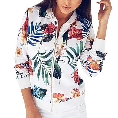 677de980aa9 Femme Veste Motard Blouson Court Zippe a Motifs des Fleurs Bombers Jacket  Printemps Autonme Femmes Fahion