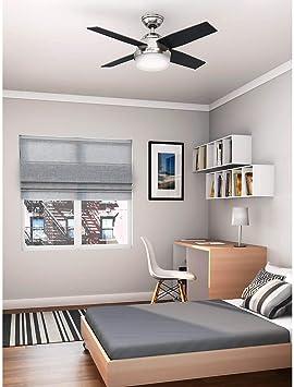 112 cm con luce Ventilatore da soffitto Dante cromato spazzolato HUNTER