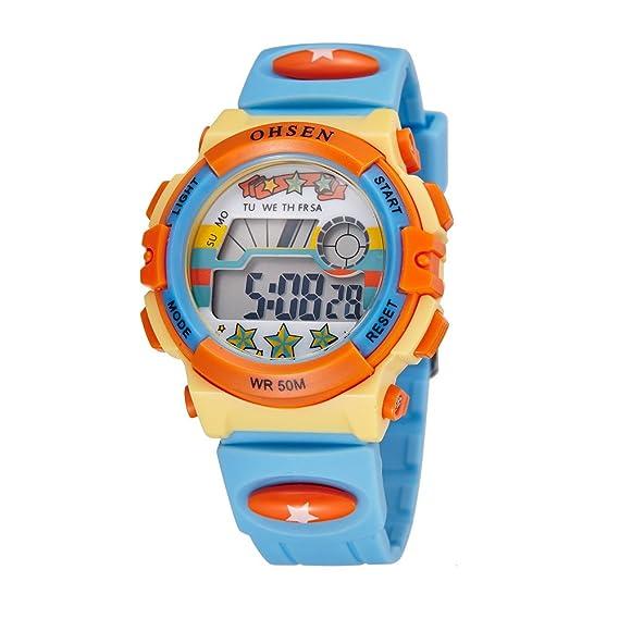 elegante llevado de múltiples último reloj digital al aire libre lindo luz luz azul reloj de los niños de las niñas correa de silicona: Amazon.es: Relojes