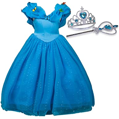 0b19565bf936 Cinderella Dresses for Girls,Princess Dress Butterflies Cotton Costume for  Toddlers With Tiara and Wand