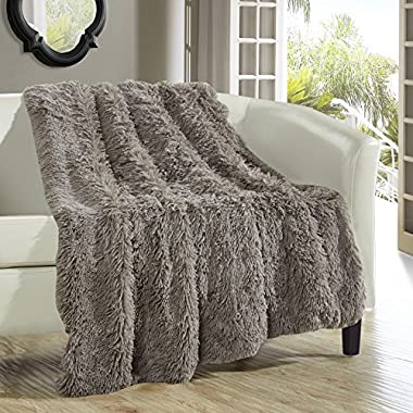 Chic Home 1 Piece Elana Shaggy Faux Fur Super Soft Ultra Plush Decorative Throw Blanket, 50 x 60 , Taupe