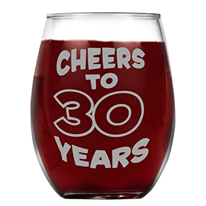 36540a1dd43 Amazon.com | Shop4Ever Cheers To 30 Years Laser Engraved Stemless ...