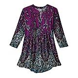 CATALOG CLASSICS Women's Tunic Top - Pleated Paisley 3/4 Sleeve Printed Blouse - Purple - Medium