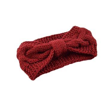 Frcolor Crochet Turban Headband for Women Warm Bulky Crocheted Headwrap (Red ) 19bebea68ff