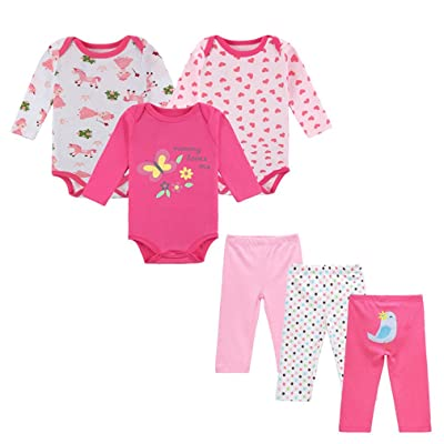 Baby Girls' 6-Piece Cloths Sets Cotton Outfit Bodysuit Pants Infant Princess