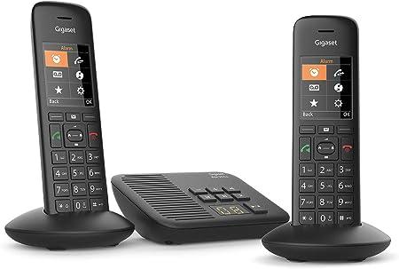 Gigaset C570A Duo - Teléfono (Teléfono DECT, Terminal con conexión por Cable, Altavoz, 200 entradas, Identificador de Llamadas,con Contestador, Negro): Amazon.es: Electrónica