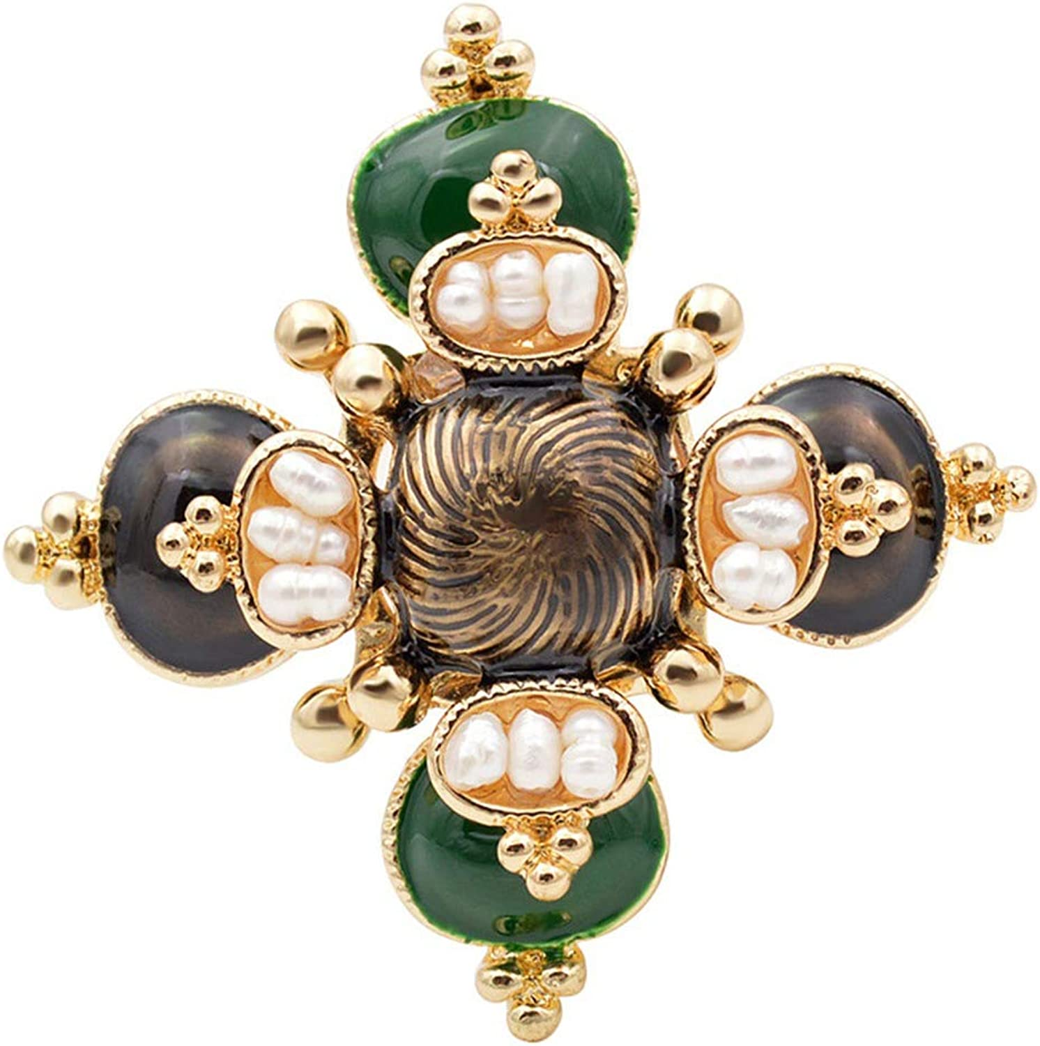 Minusone Freshwater Pearl Cross Brooches Unisex Baroque Pins Jewelry Enamel Broches Design