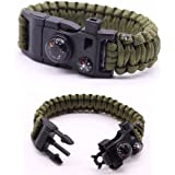 Premium Quality Camping Gear Paracord Survival Bracelet - Best Safety Band For Camping and Hiking - 12-in-1 Features Like Compass, Thermometer, Knife, Fire Starter, Emergency Whistle, and More
