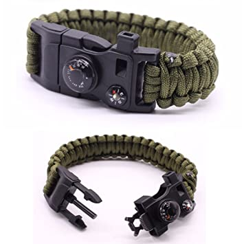 reputable site 0c673 c1106 Premium Quality Camping Gear Paracord Survival Bracelet - Best Safety Band  for Camping and Hiking - 12-in-1 Features Like Compass, Thermometer, Knife,  ...