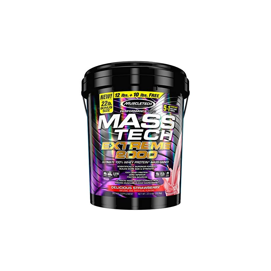 MuscleTech Mass Tech Extreme Triple Chocolate Brownie Weight Gainer, 22 Pound