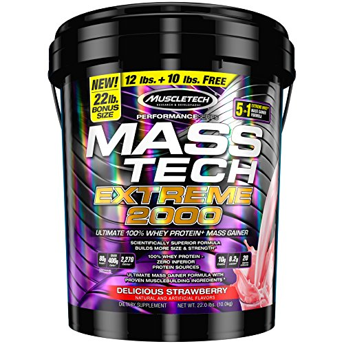 MuscleTech MT Performance Series Mass Tech Extreme 2000 Delicious, Strawberry, 22 (2000 Protein)